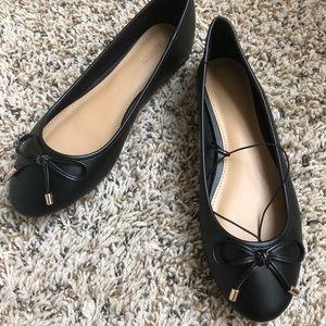 FOREVER 21 Black Leather Ballerina Flats